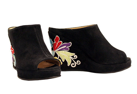 Suede Embroidered Heel - Slip On Wedge