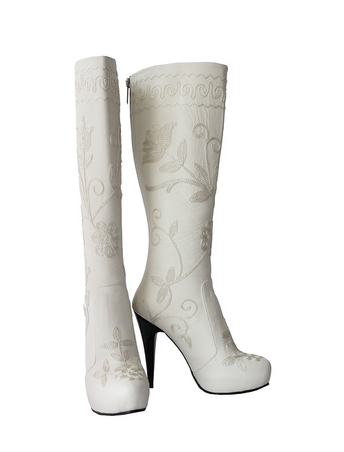 Off White Leather Embroidered - Stiletto