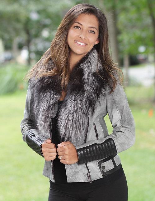 Urban Fox Fur Leather Jacket - Grey