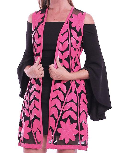Leather Mesh Vest - Pink