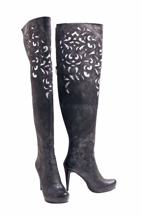 Waxed Leather Gray and Silver - TH Stiletto