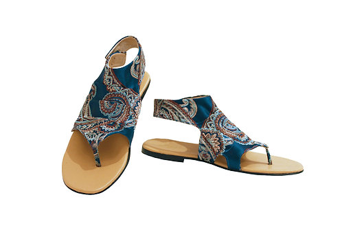 Blue Paisley - Gladiator Sandals