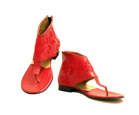Red Leather - Gladiator Sandals