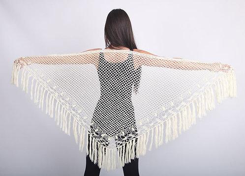 Hand-knit Crocheted Shawl