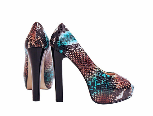 Brown Turquoise Python - Pumps