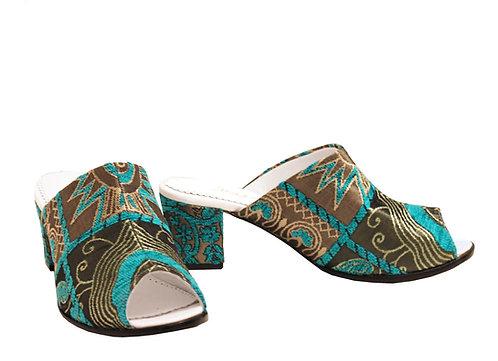 Blue Garden - Mule Sandals
