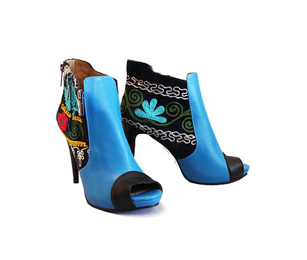 One of a Kind Suzani Blue Leather - ANK Stilettos