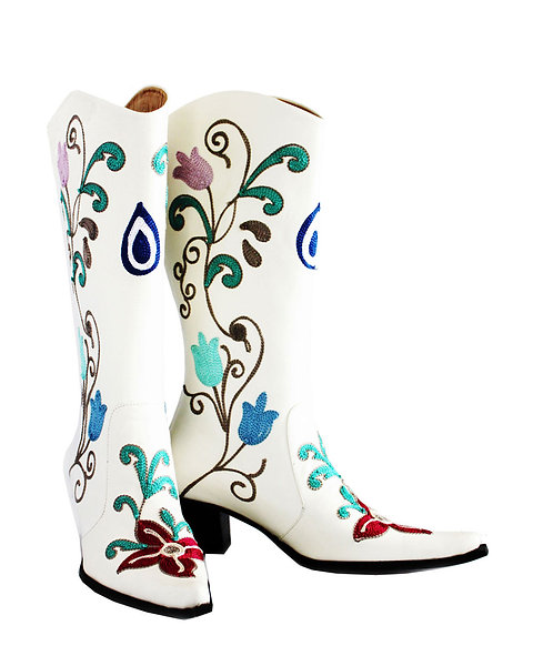 White Leather Nazar Embroidery - Cowboys