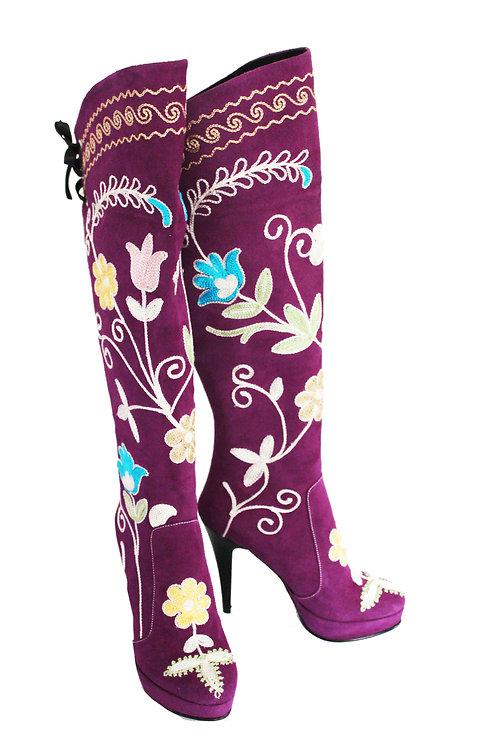 Purple Suede Embroidered - OTK Stiletto