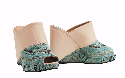 Sultan Green Leather - Slip On Wedge