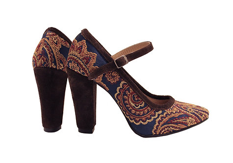 Brown Paisley - Mary Jane Pumps