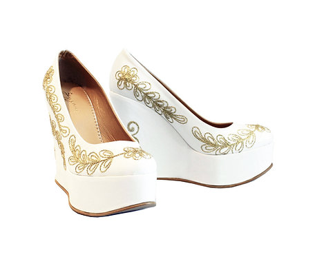 White and Gold Leather - Shoes Wedge