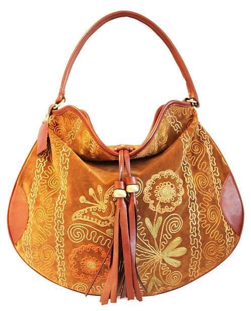 One of a kind Tan Suzani Hobo Bag