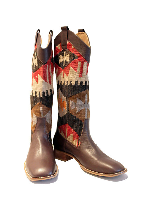 Kilim Brown Leather - Western Pull On Riding