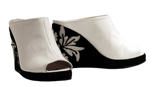 White Leather Embroidered - Slip On Wedge