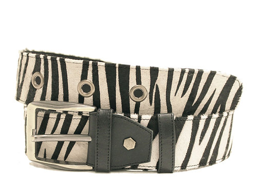 Calf Hair Zebra Adjustable Jean Belt