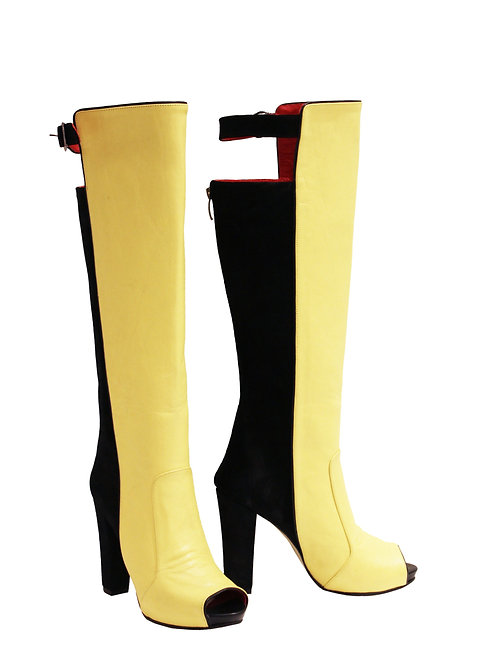Black Suede Yellow Leather Peep Toe - Chunky