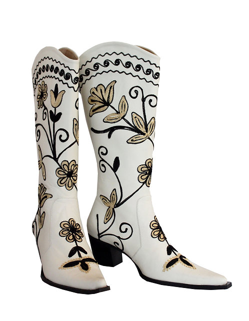 Cream Leather Embroidered - Cowboys