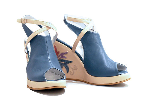 Jean Leather Embroidered - Urban Wedge