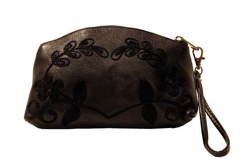 Leather Black Clutch/Wristlet