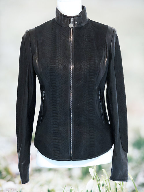 Leather Jacket with Suede - Black Scale