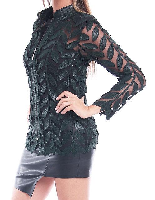 Leather Mesh Short Jacket - Green