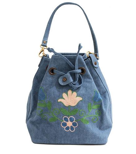 Light Denim Embroidered Handbag