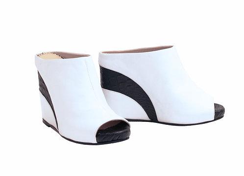 White Leather Black Stripe - Slip On Wedge