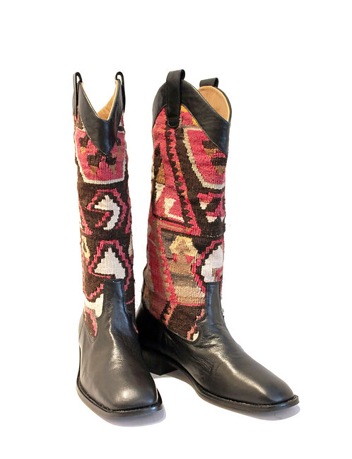 Kilim Black Leather - Western Pull On Riding