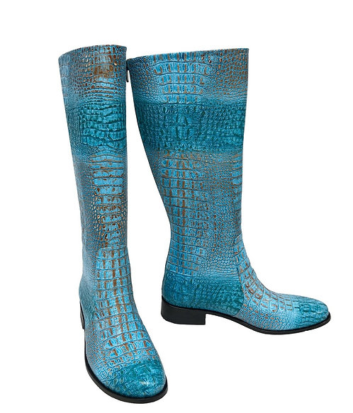 Blue Python Embossed Leather - Riding