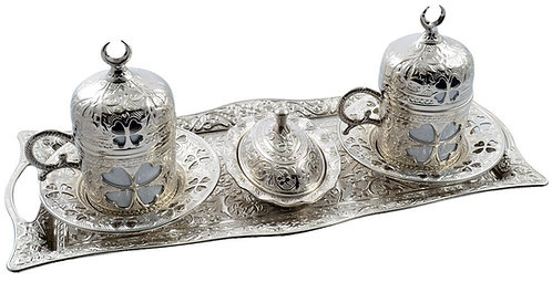 Turkish Coffee Set of 2 - Silver