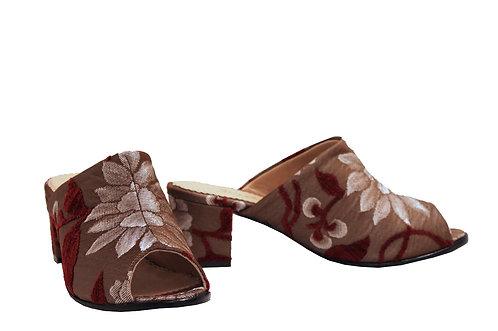 Burgundy Garden - Mule Sandals