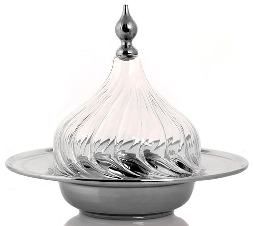 Turkish Silver Glass Candy Dish