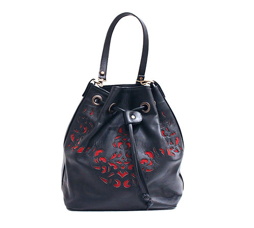 Black Leather Red Lasercut Handbag
