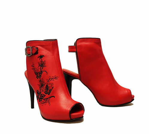 Red Leather Embroidered - ANK Stiletto