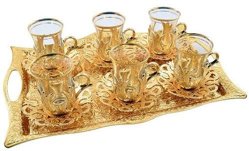 Turkish Glass Tea Set of 6 - Gold