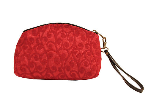 Red Textile Clutch/Wristlet