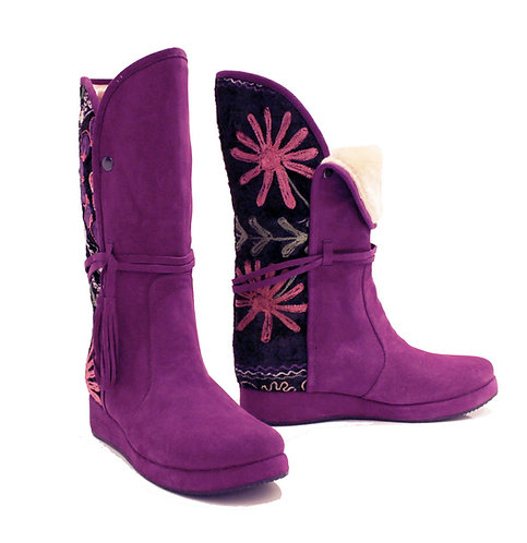 One of a Kind Suzani Purple Suede Uptown - Riding