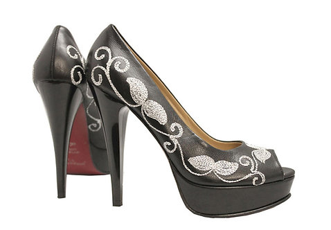 Leather Embroidered - Stiletto Pumps