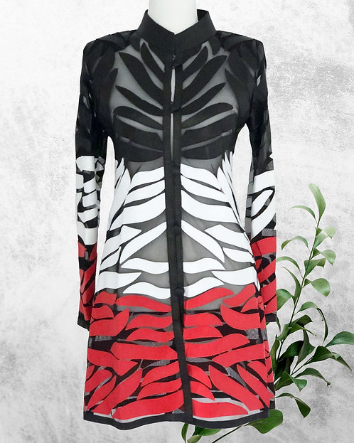 Leather Mesh Long Jacket -Blk/Wht/Red Wave