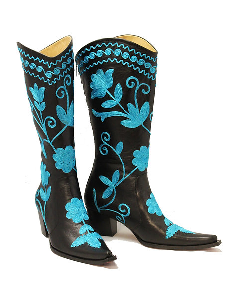 Black Leather Turquoise Embroidered - Cowboys