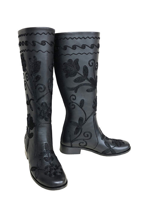 Black Leather Embroidered - Riding