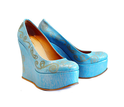 Blue Laser Cut Leather - Shoes Wedge