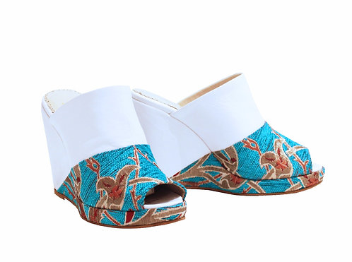 White and Blue - Slip On Wedge
