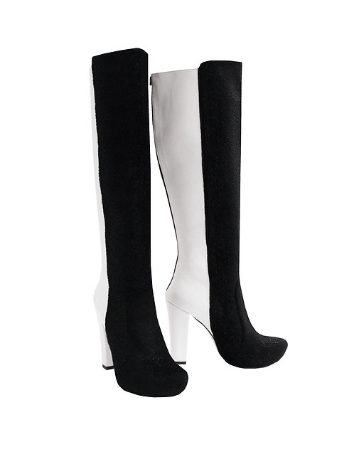 Black Suede White Leather - Chunky