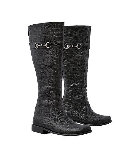 Black Croc Embossed Leather - Riding