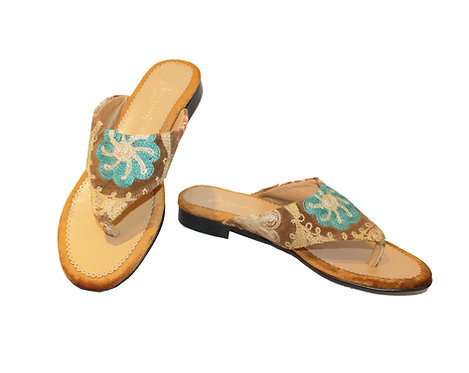 One of a Kind Tan Suzani - Flips Flops