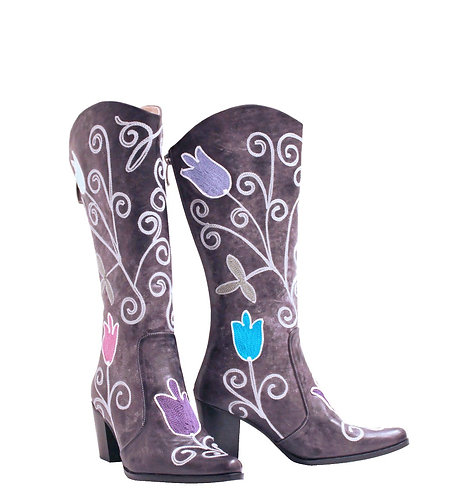 Plum Derby Leather Embroidered - Cowboys