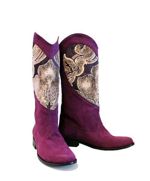 Purple Suede Heart - Western Pull On Riding