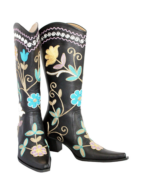 Black Leather Embroidered - Cowboys
